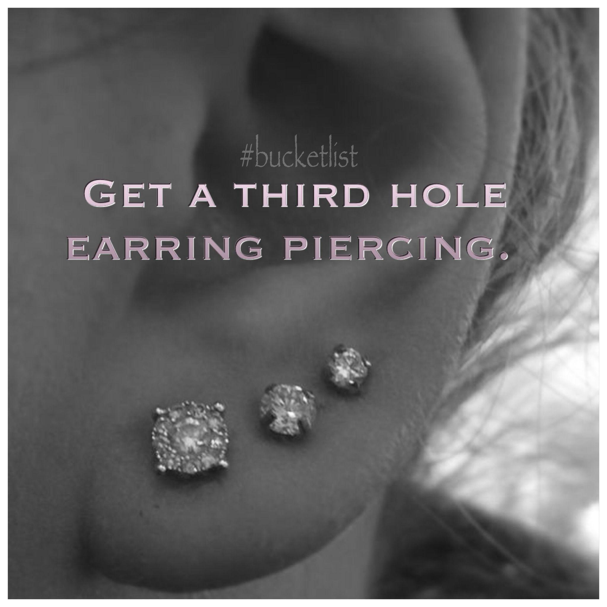 2nd ear piercing ideas  Done  bucketlist Third Hole earring piercing  nd hole