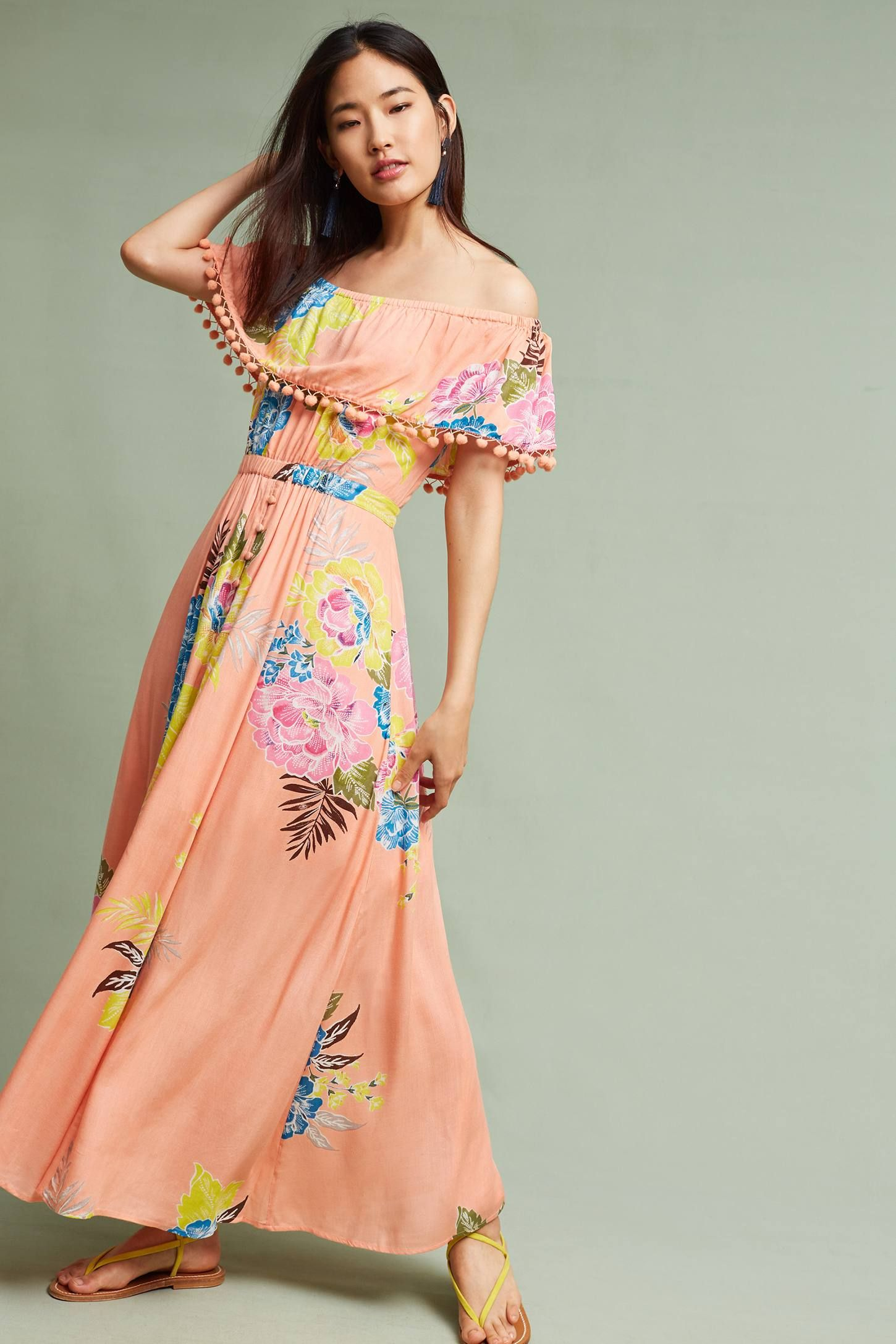 00461d97b91c Shop the Pom Pom Off-The-Shoulder Maxi Dress and more Anthropologie at  Anthropologie today. Read customer reviews, discover product details and  more.