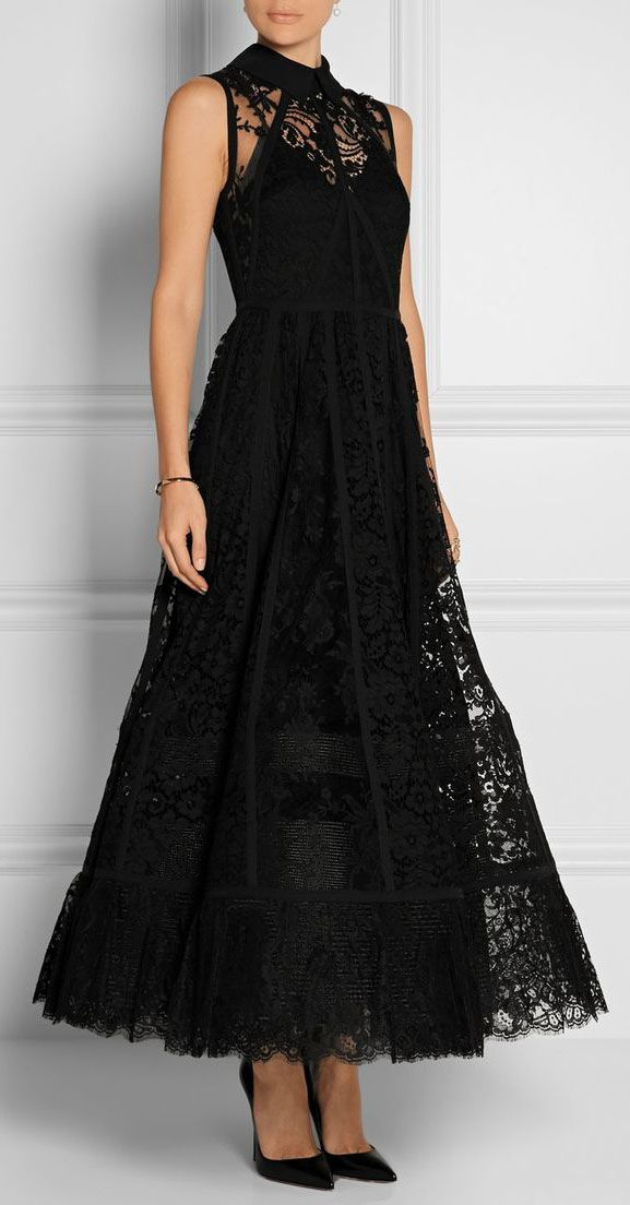 Paneled tulle, lace and chiffon gown