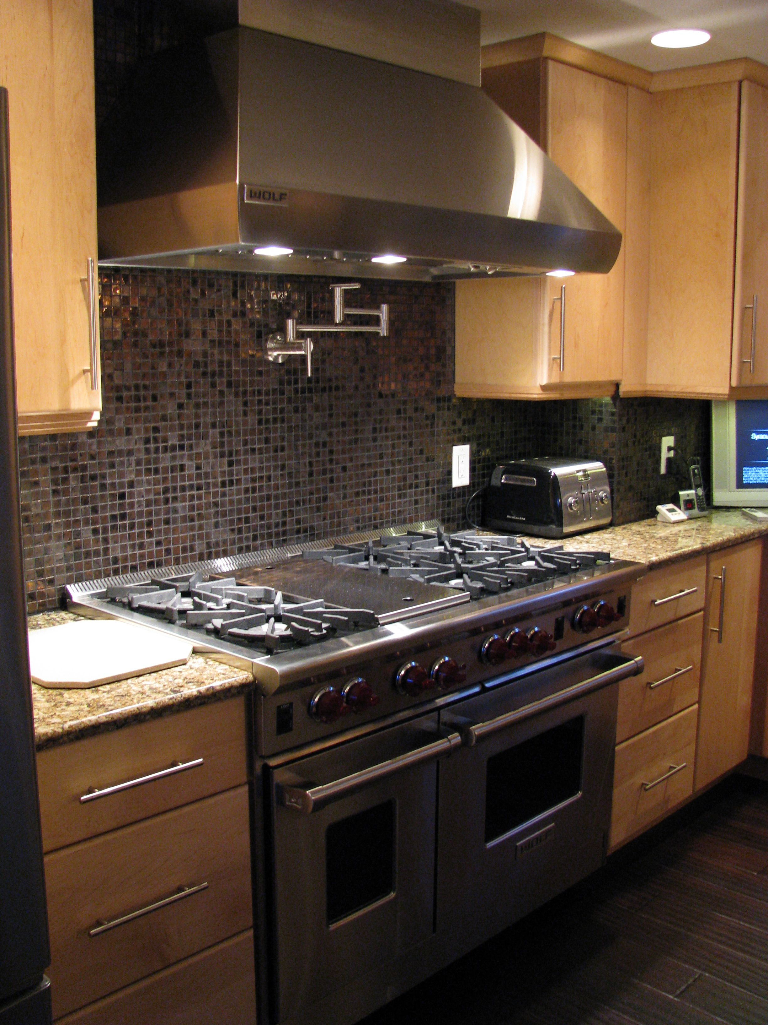 Commercial stove, glass tile, and a pot filler faucet | Allcraft ...