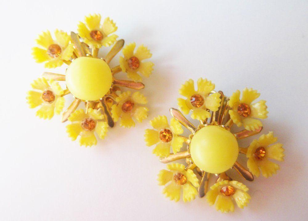 Vintage Earrings Yellow Hard Plastic Rhinestone Flower Clip on lot pre6 #Unbranded #Plasticclipon