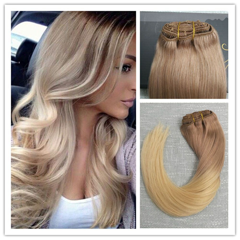 6a clip in remy human hair extensions ombre light brown to