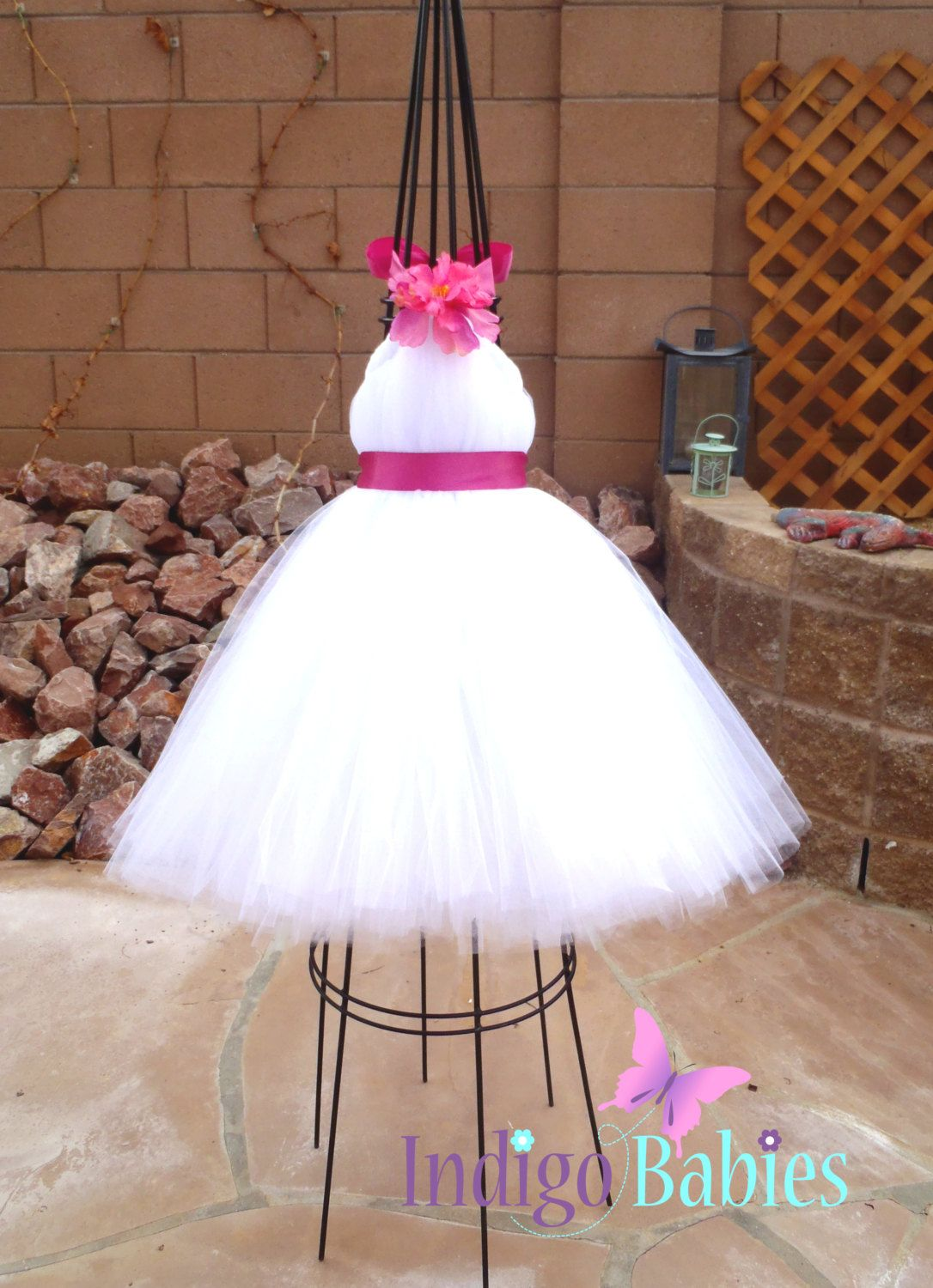 Tutu Dress, Flower Girl Dress, White Tulle, Fuchsia Ribbon, Hot ...