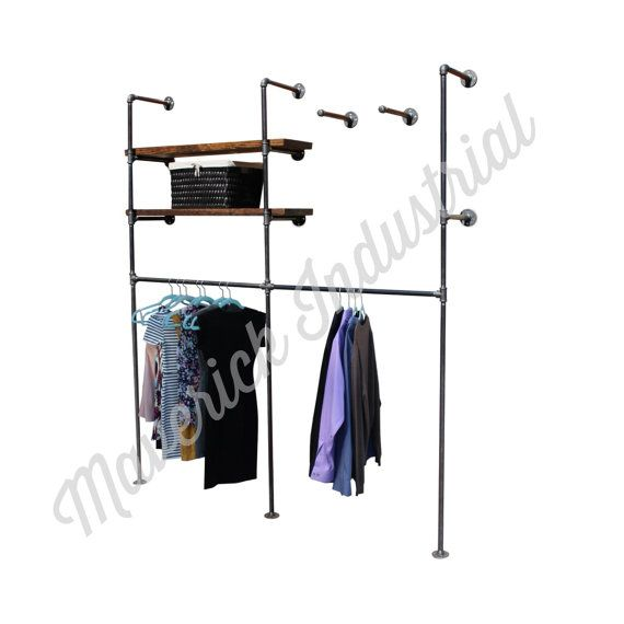 Industrial Retail Wall Display Wall Mounted Clothes Rack Etsy Retail Wall Displays Wall Display Clothing Rack