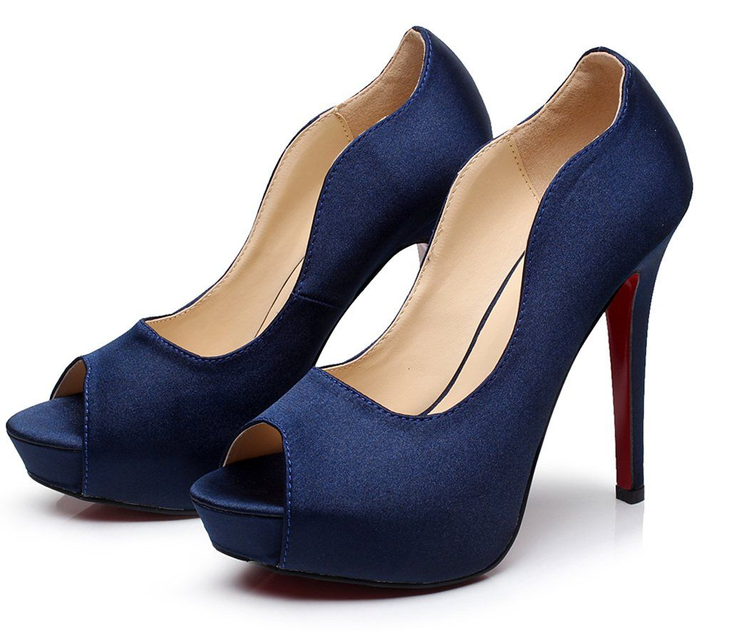 Littleboutique New P Toe Satin Wedding Platforms Stiletto Evening Dress Pumps Bridal Shoes Heels Navy Blue 7