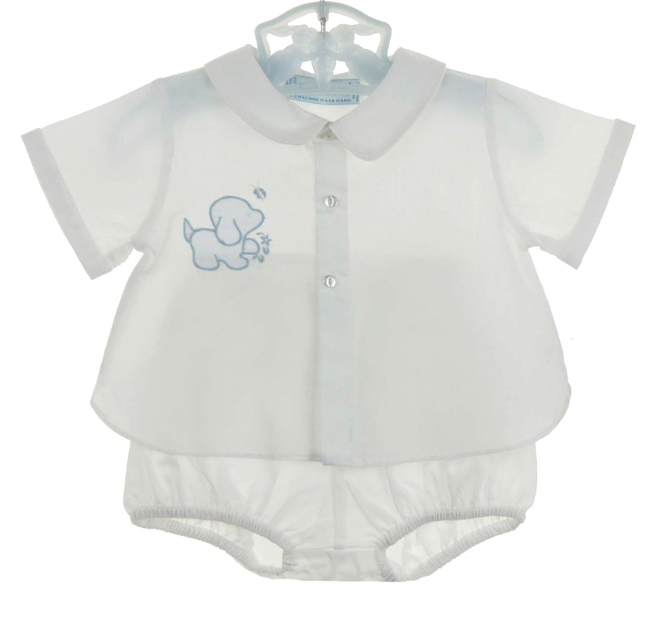 b31d25a5 NEW Hand Embroidered White Diaper Set with Blue Appliqued Puppy $50.00  #DiaperSets #DiaperShirts