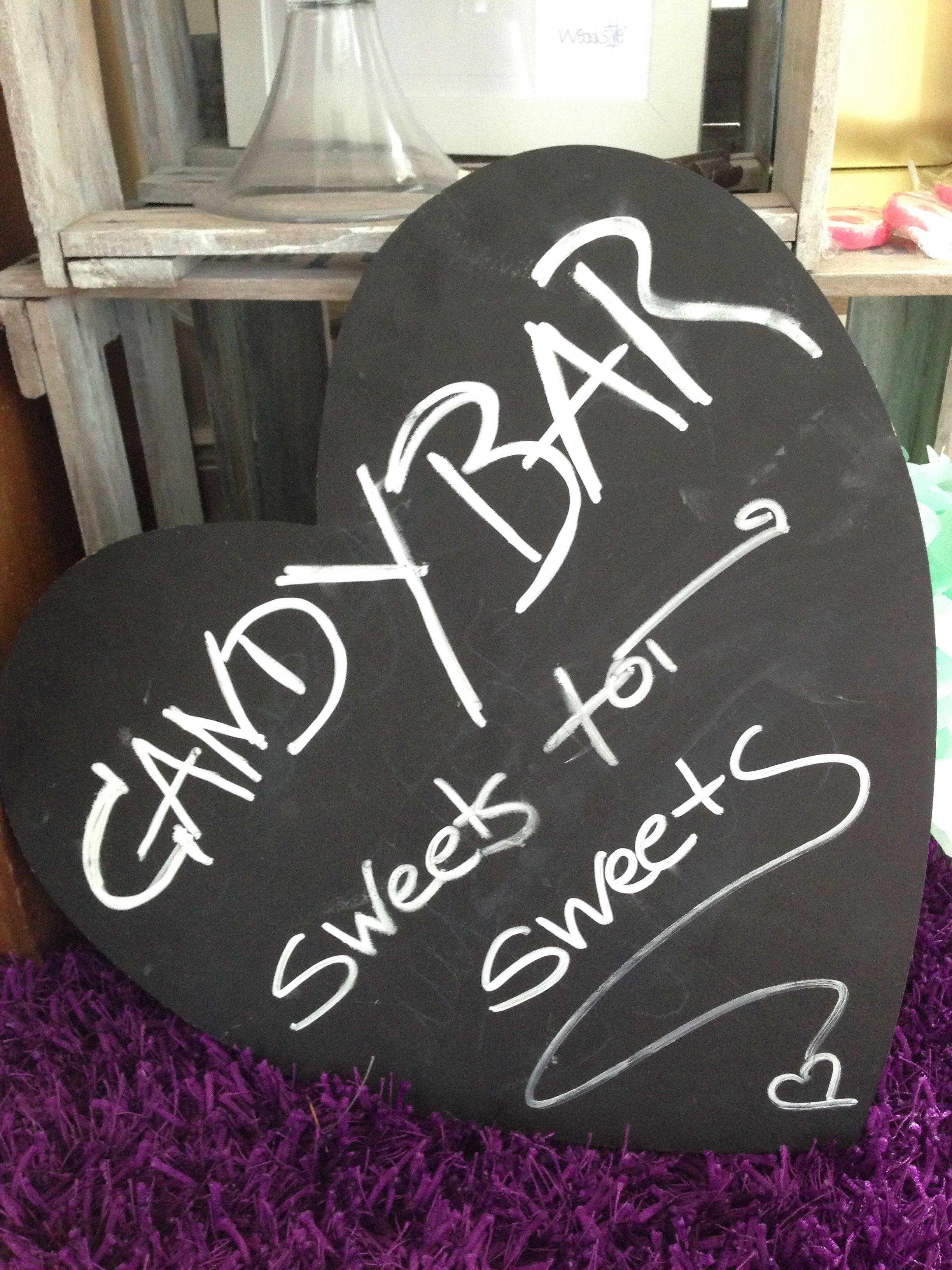 candy bar schild als tafel candy bar hochzeit candy. Black Bedroom Furniture Sets. Home Design Ideas