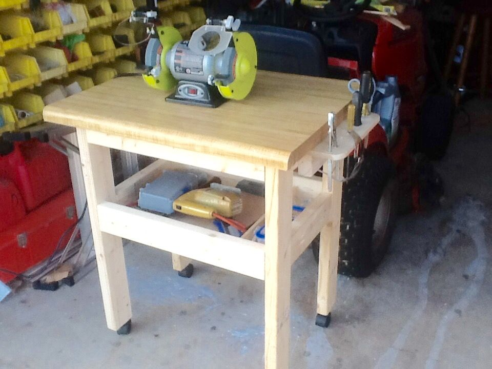 bench grinder table. bench grinder table with storage shelf and tool holder added