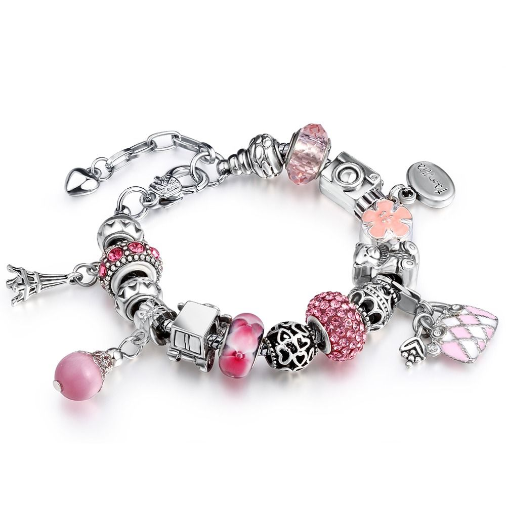 New European Silver Plated Crystal Charm Bracelet Beads With Eiffel Tower  Pendant Fit European Bracelets &