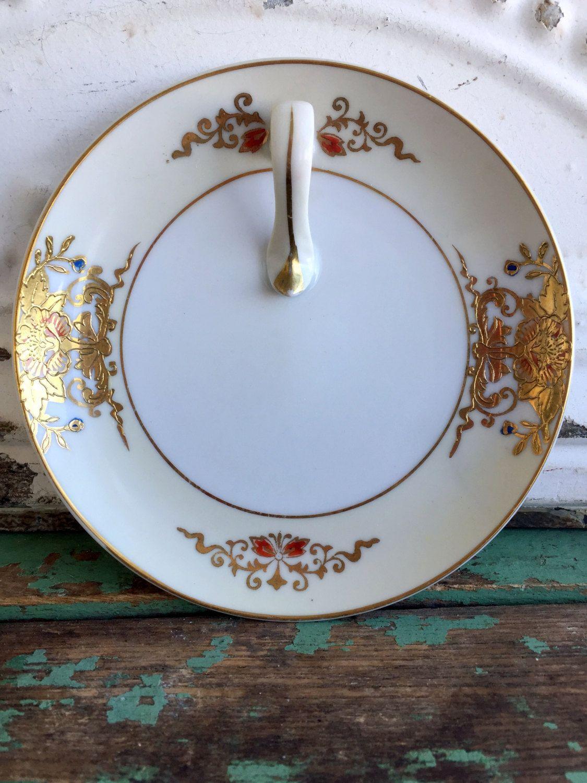 Vintage Noritake Porcelain Lemon dish plate Heavy Gold floral