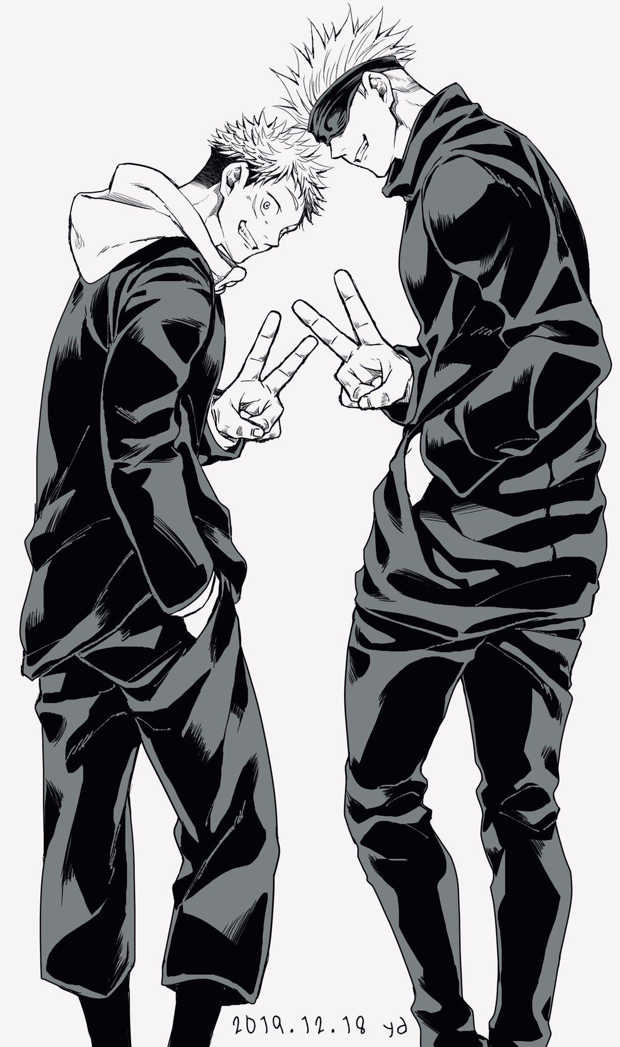 Itadori Yuji And Gojo Satoru In 2021 Anime Wallpaper Anime Background Anime Art