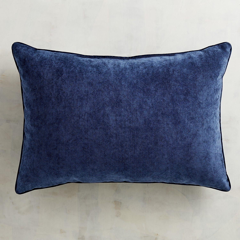 Oblong Lumbar Throw Pillow Navy Blue