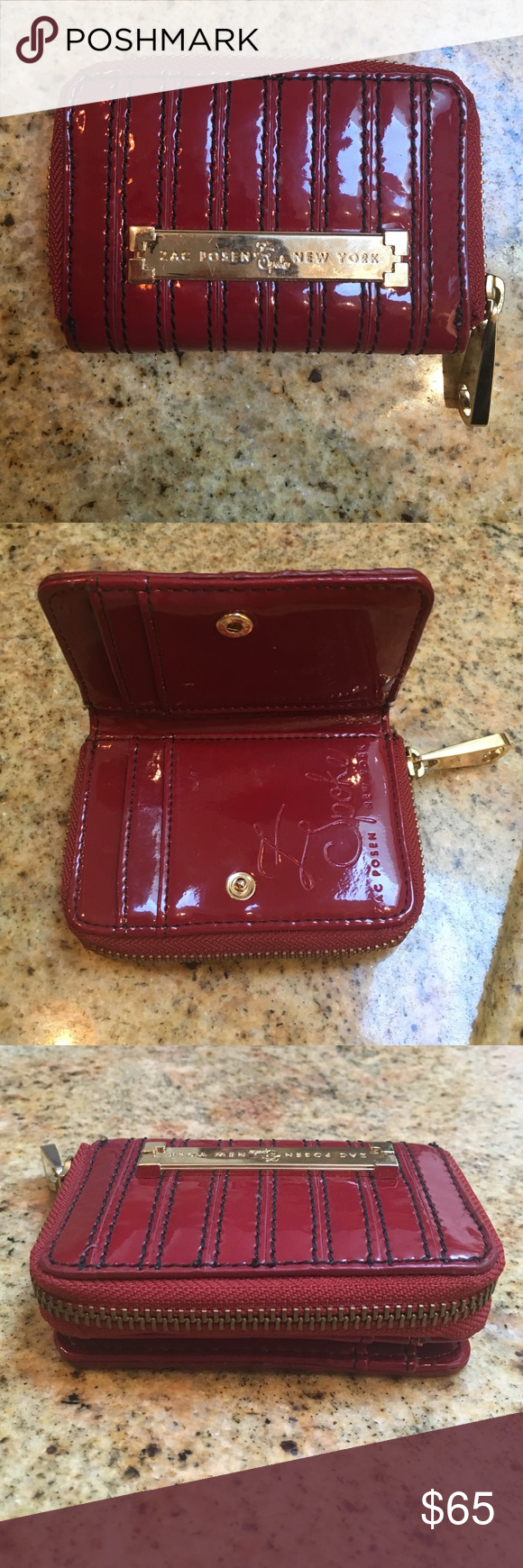 Red Zac Posen wallet Red and navy blue Zac Posen wallet with 4 credit card slots and a zippered coin purse Bags Wallets