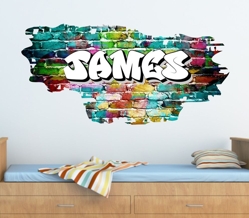 personalised graffiti brick name wall stickerdecal graphic tr45 - Name Of Bedroom Furniture