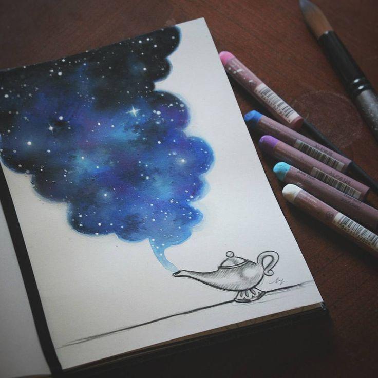 Manchmal wünsche ich mir eine Wunderlampe, aber dann erinnere ich mich, dass überall um mich herum echte Magie ist und alles, was ich mir jemals wünschen könnte. - #Aquarell #Öl ... - - #zeichnungen