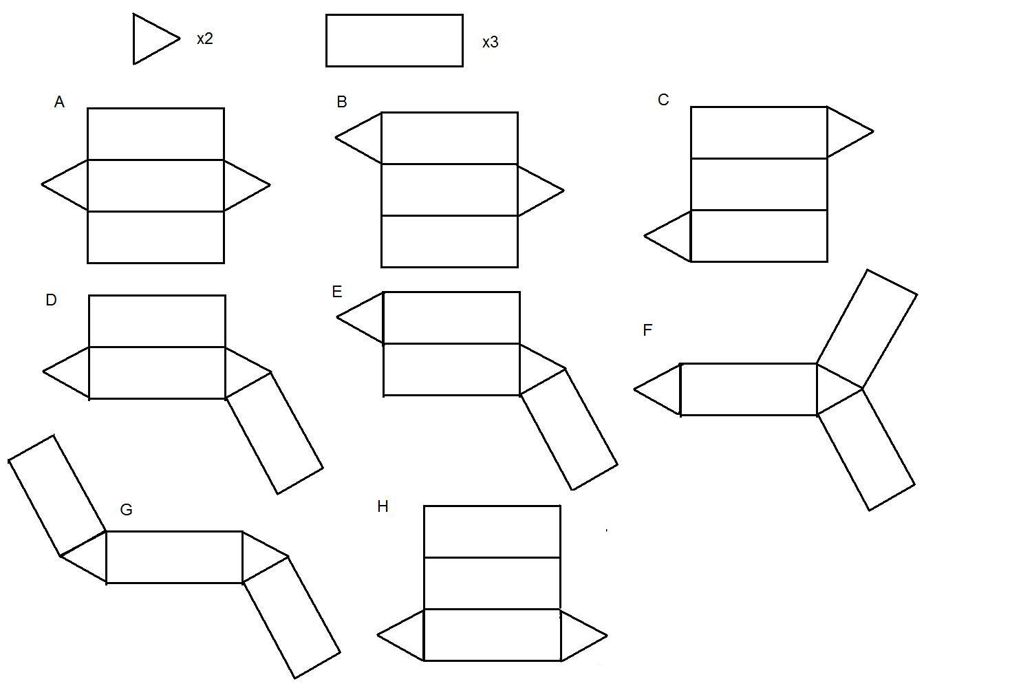 Net Diagrams Of 3d Shapes State Diagram In Software Engineering How Many Nets Can You Find For A Triangular Prism Math