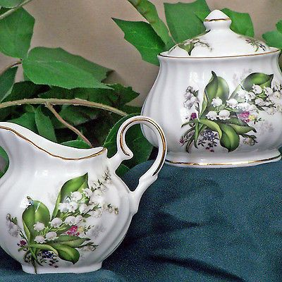 Cream and Sugar 103434: Lily Of The Valley Fine China Sugar And Creamer Set, Covered Sugar Bowl -> BUY IT NOW ONLY: $38.89 on eBay!