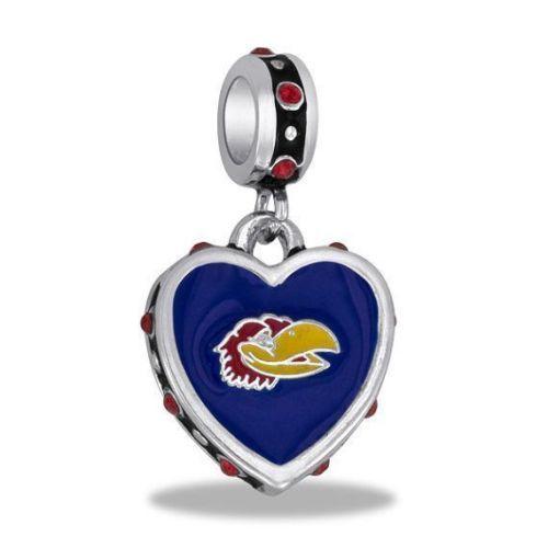Pandora Jewelry Kansas City: KU-JAYHAWKS-CRYSTAL-ENAMEL-DANGLE-HEART-BEAD-BRACELET