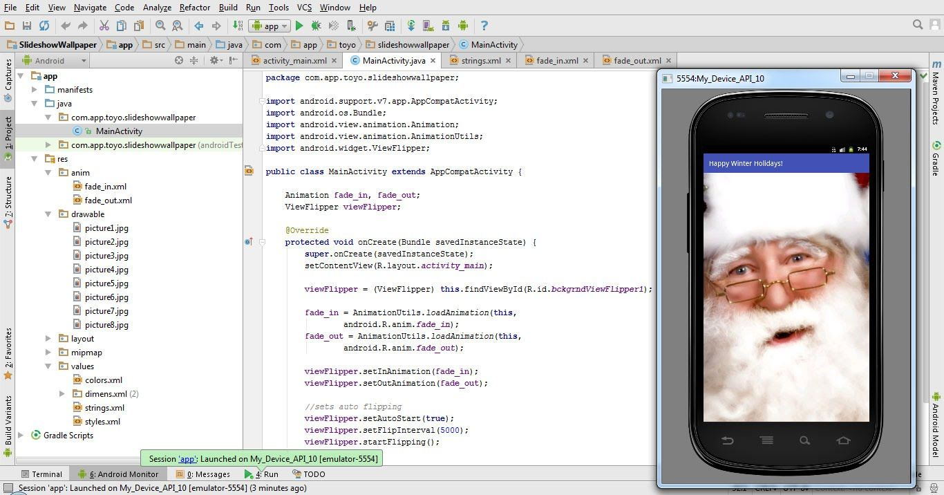 Tutorial Slideshow Wallpaper App In Android Studio 1 5 Wallpaper App Android Studio Android Tutorials