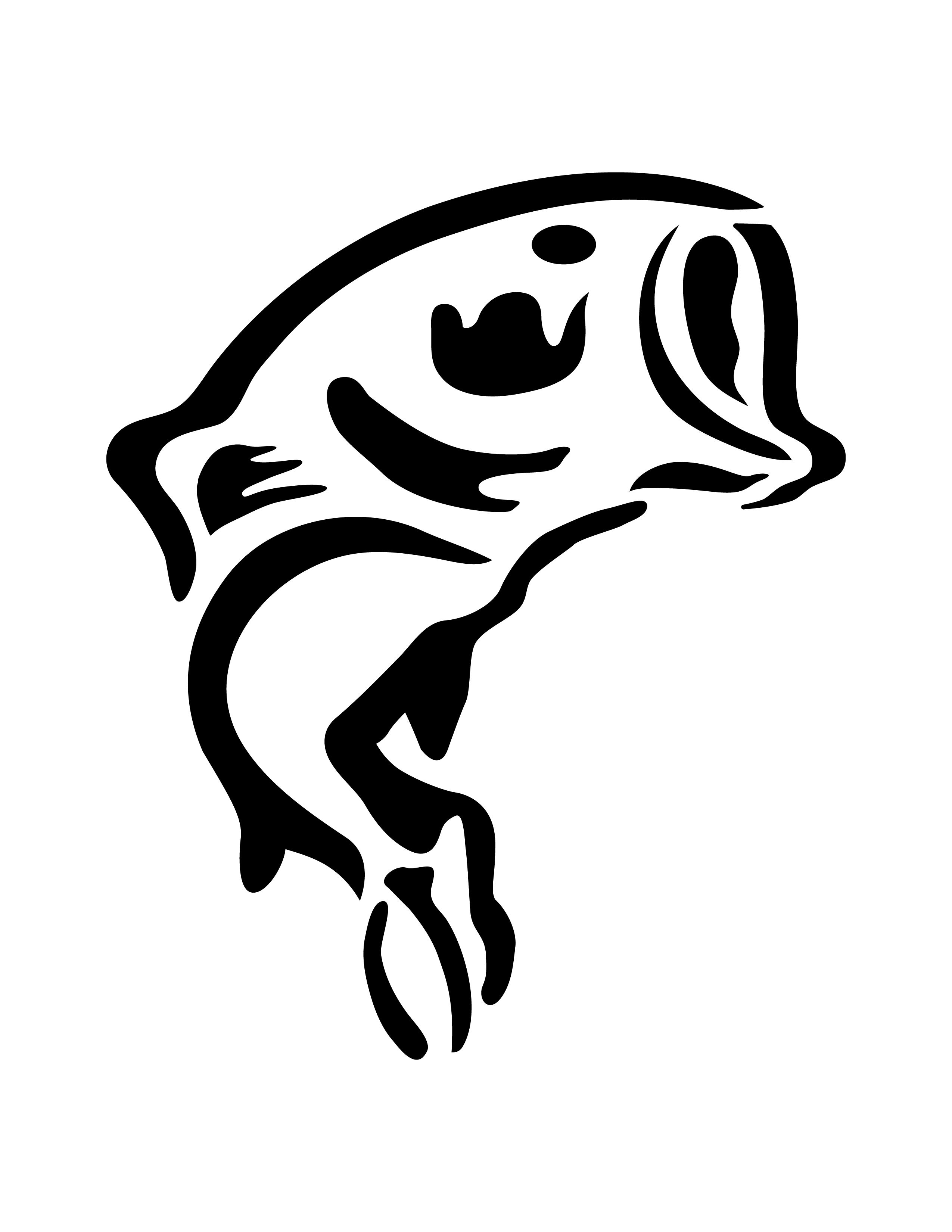 Bass Fish Pumpkin Stencil
