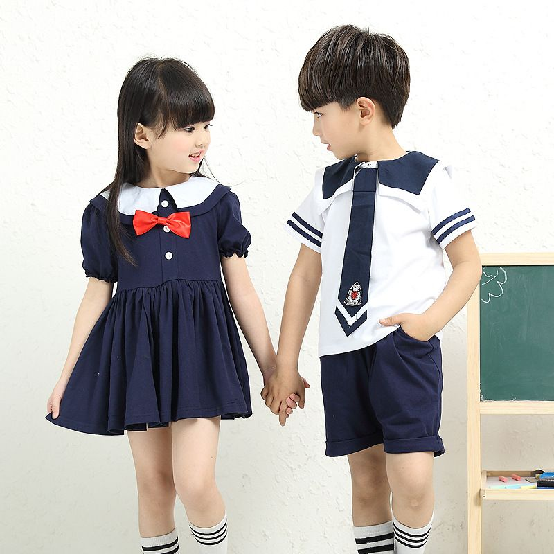 0cc3fab80 Click to Buy << Children Cotton Student Navy Blue Korean Japanese Sailor  School Uniform Set for Girls Boys Dress Shirt Tops Shorts Tie Clothes  #Affiliate