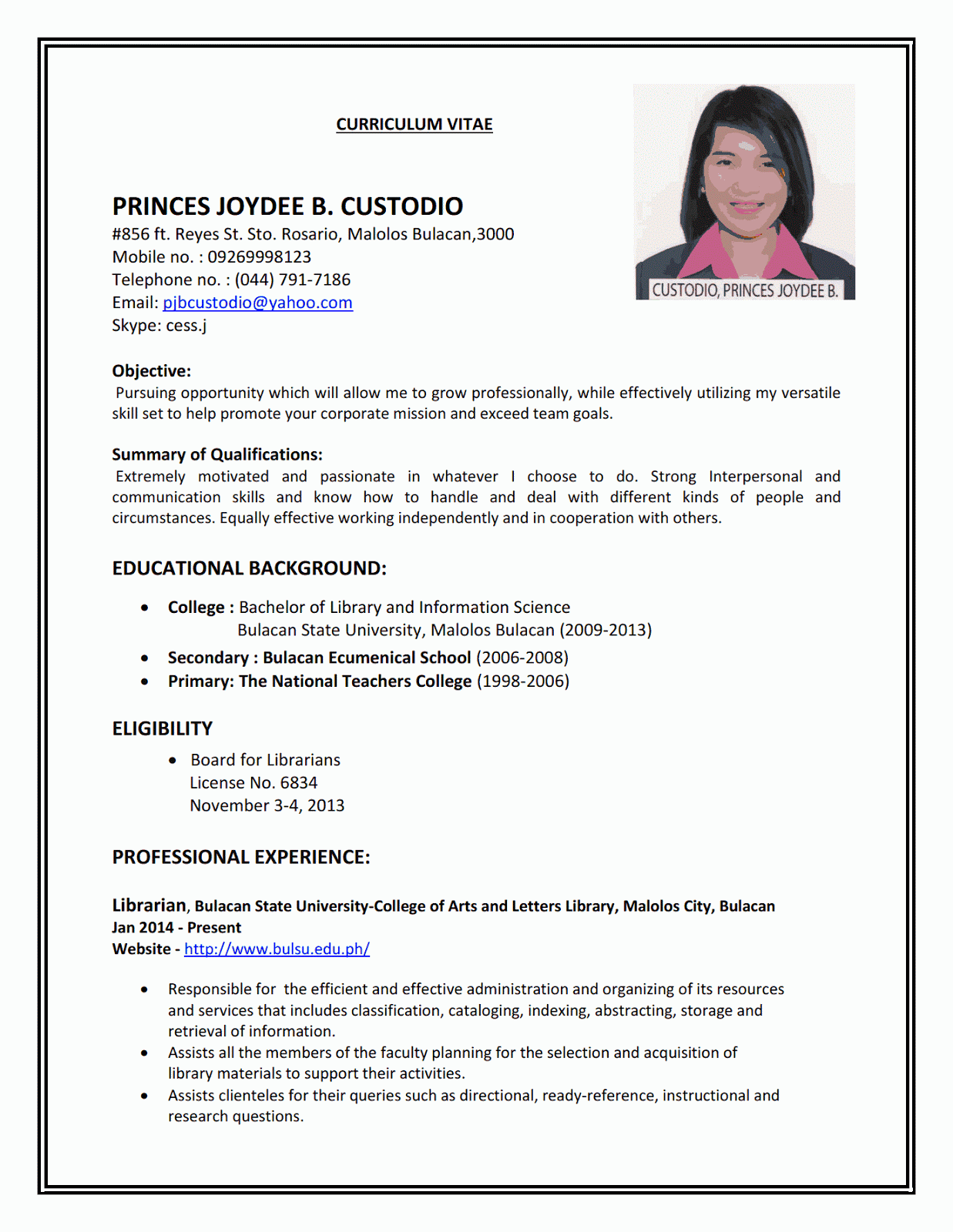 Example of perfect job resume