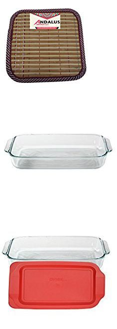 Lasagna Pan Pyrex Basics 3 Quart Glass Oblong Baking Dish with Red Plastic Lid Includes Bamboo Hot Pad By Andalus