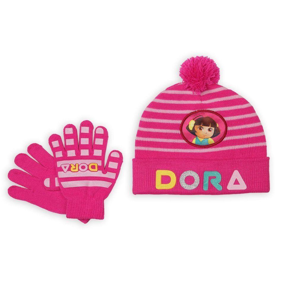 d52b8e7a4 Nickelodeon Girls Pink Dora the Explorer Beanie Hat & Gloves Set ...