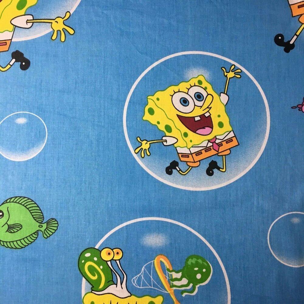 Cotton Quilt Fabric  Spongebob Blue by 1//2 Yard