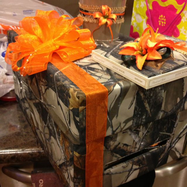 Camo Wedding Reception Ideas: Camo Card Box And Guest Book