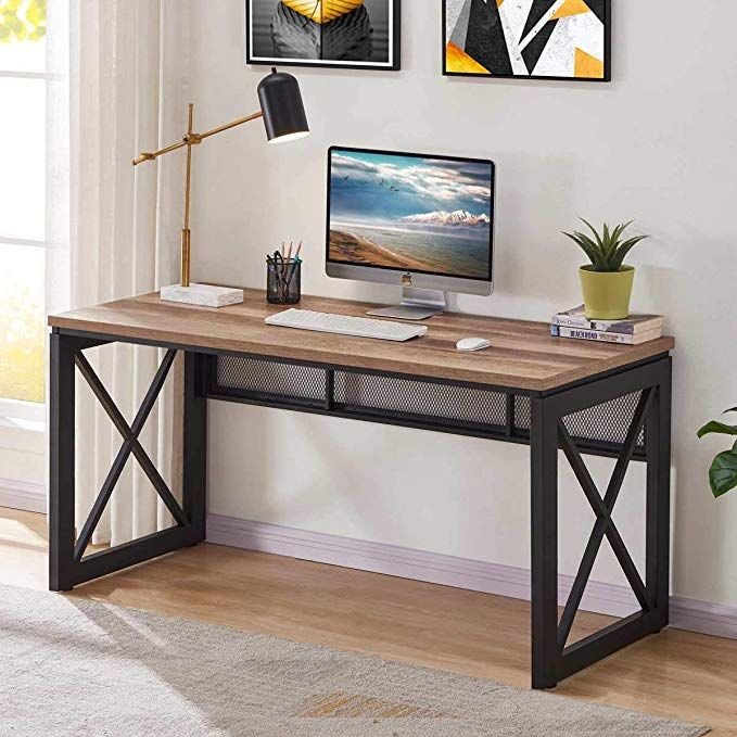 Amazon.com: BON AUGURE Industrial Office Computer Desk, Wood and Metal Writing Gaming Desk, Workstation Desk for Home Office (60 Inch, Rustic Oak): Kitchen & Dining #gamingdesk
