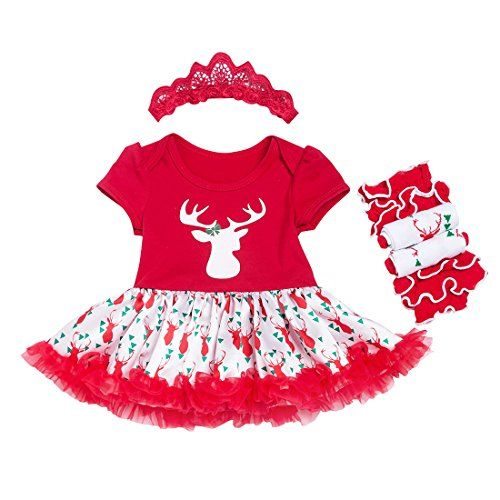 Slowera 3PCS Sets Baby Girls Christmas Outfits Clothes 69 Months Red