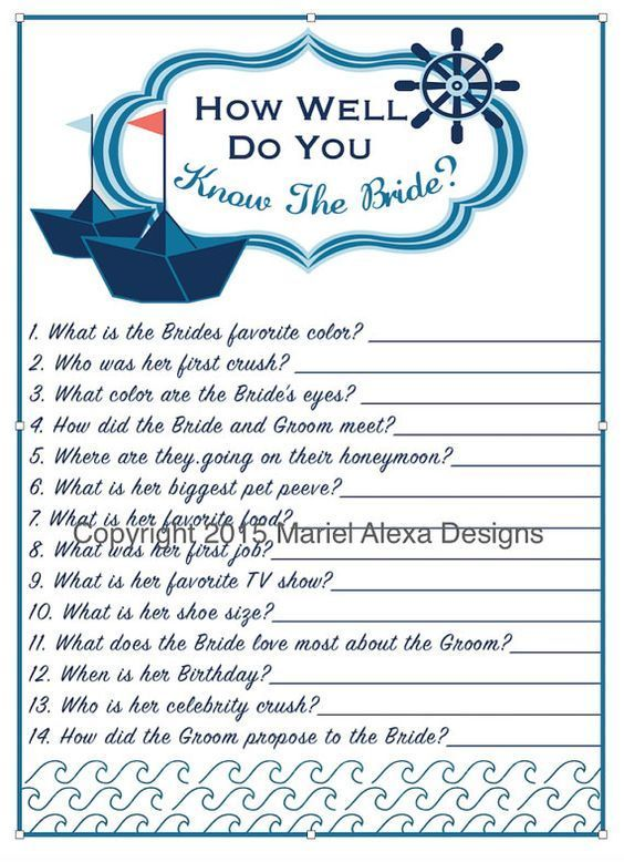 bridal shower game how well do you know the bride nautical theme bridal shower personalized custom printable diy pdf memory game how well do