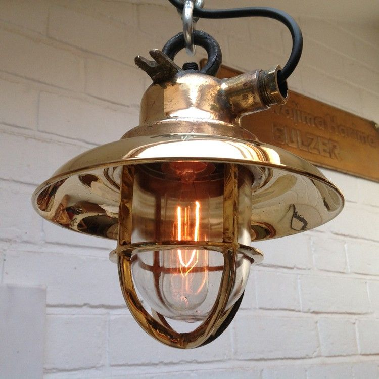 Vintage Industrial Maritime Brass Pendant Light