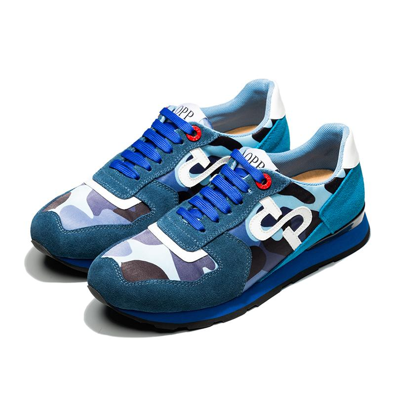 LACE-UP PAINT SNEAKERS BLUE - Top