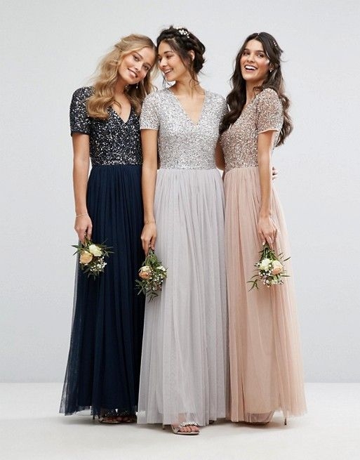 079c0c29481 Maya Bridesmaid V neck maxi tulle dress with tonal delicate sequins ...