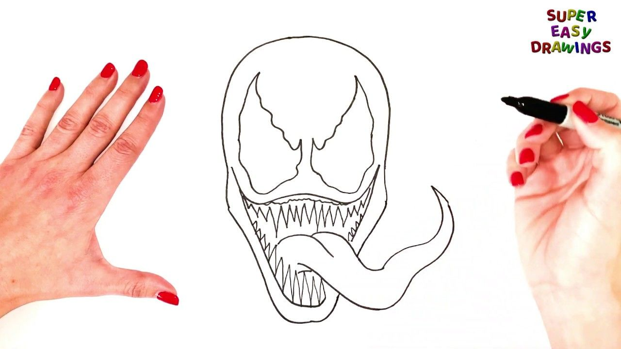 How To Draw Venom Step By Step Venom Drawing Easy Super Easy Drawing How To Draw Venom Drawing Tutorial Easy Easy Drawings