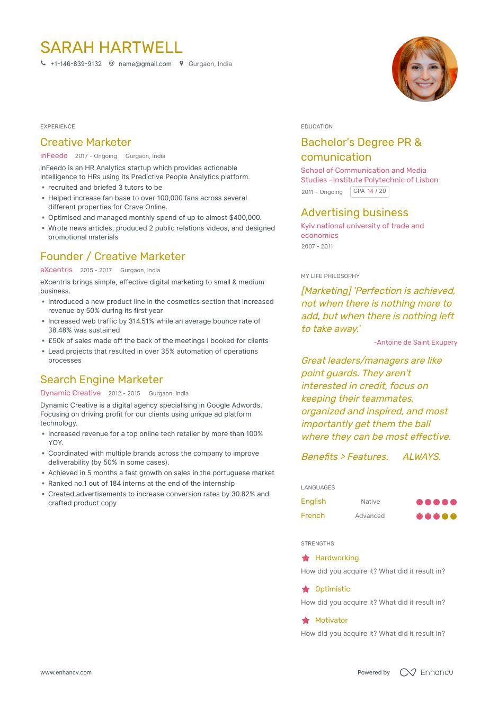 Creative Marketer Resume Examples, Skills, Templates