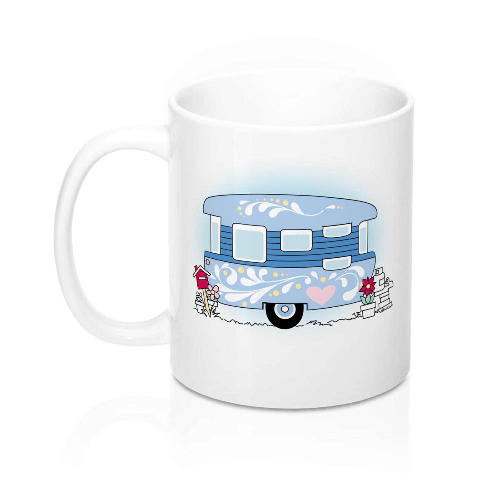 Christmas Camper Mug Christmas Mug Purple Camper Caravan Mug Happy Glamper Mug Rv Mug Mugs Christmas Mugs Ceramic Coffee Cups