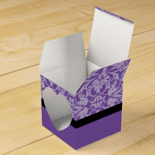 Personalized Black & Purple Damask Heart Favor Box