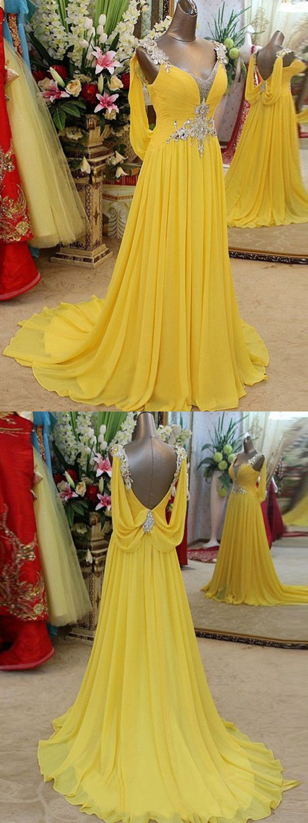 a line yellow prom dress chiffon cheap long prom dress vb
