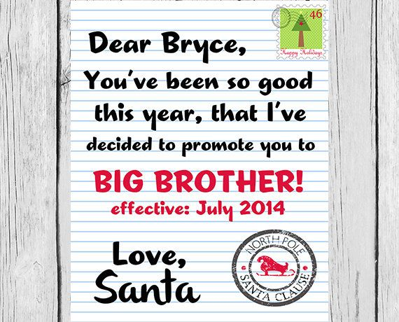 Santa Promotion Letter Big Brother Christmas By Modernstarprint