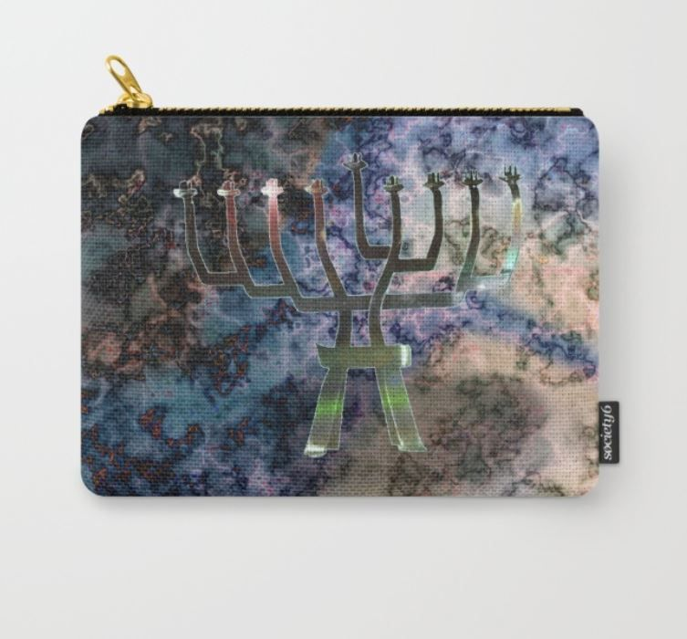 Unlit Menorah carry all pouch on Society6.