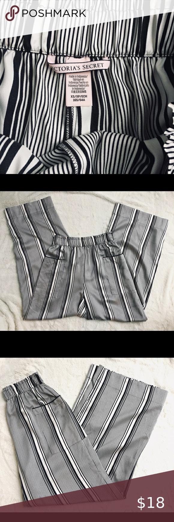 Victoria S Secret Black White Striped Pants Black White Stripes White Stripe Stripe Silk