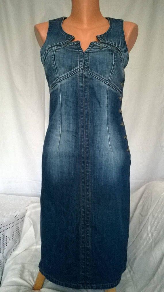 7bf060c027 Vintage jeans dress Blue jeans dress Middle Denim dress