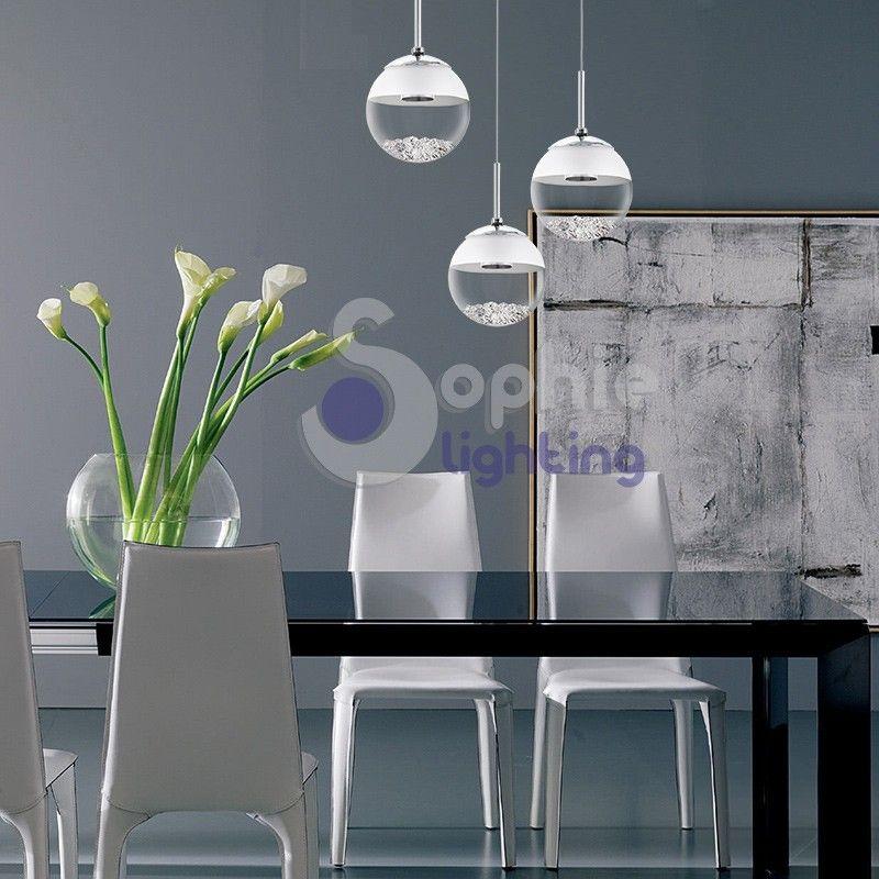 Lampada sospensione soffitto led 3 sfere pendenti cristallo vetro soffiato design tavolo luci - Luci da tavolo design ...