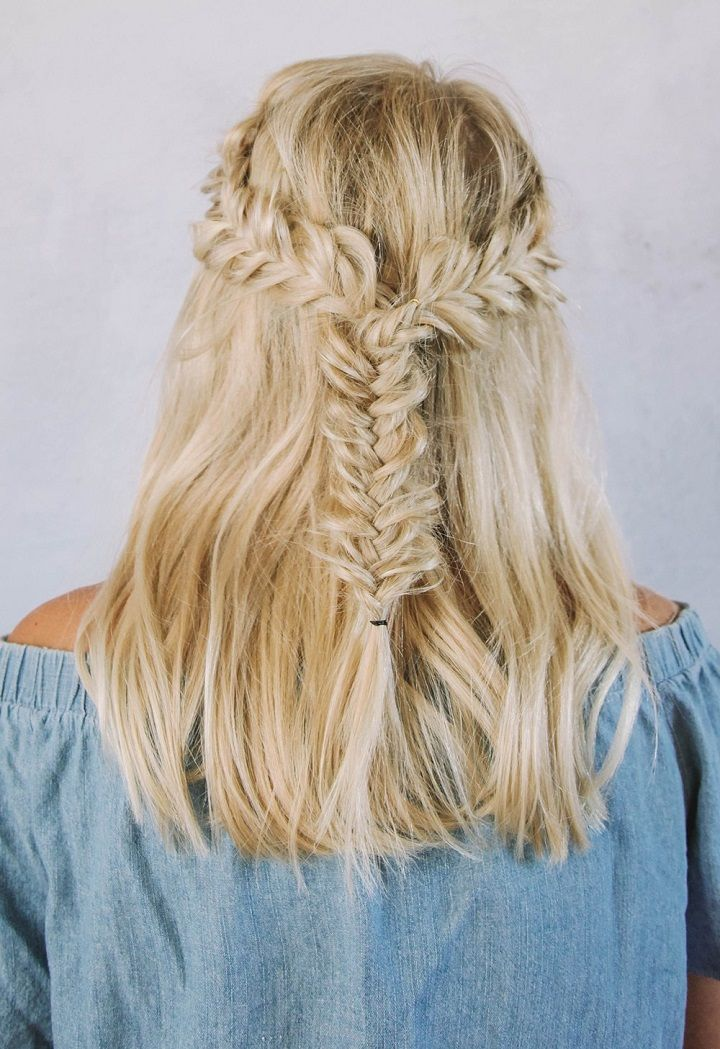 Half Up Half Down Fishtail Braids Hairstyle