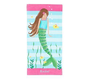 Classic Icon Brunette Mermaid Kid Beach Towel Kids Beach