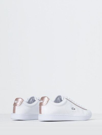 94a63932417220 Lacoste Womens Carnaby Evo 217 Sneakers in White   Rose Gold