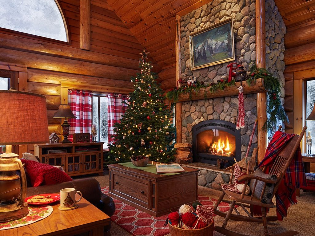 A Cozy Log Cabin Full of Holiday Cheer
